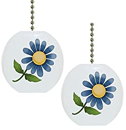 Set of 2 Blue Flower Floral Country Solid Ceramic Fan Pulls