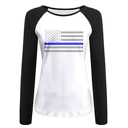 Creamfly Womens Thin Blue Line American Flag Long Sleeve Raglan Baseball Tshirt XXL (Princeton Bumper Sticker compare prices)