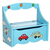 BOY'S BLUE CAR DESIGN STORAGE SEAT, TOY BOX, OTTOMANby CENTURION PINE 07779...