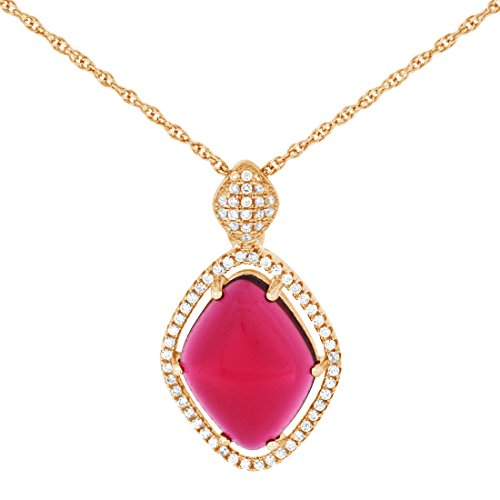 Pink Gold Plated Pure 925 Sterling Silver Simulated Diamonds And Pink Tourmaline Trapezoid Pendant
