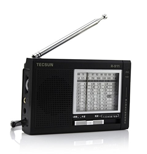 Aweek® R-911 AM/ FM/ SM/ MW (11 Bands) Multi Bands Portable Radio Porket Radio High Sensitivity Receiver With Built-In Speaker R911 -Black Color
