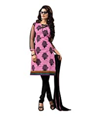 Vibes Fashionable Pure Cotton Unstiched Dress Materials,Free Size,Pink,V214-1