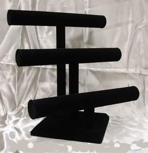 Black Velvet Bracelet T-Bar 3 Tier Jewelry Display NEW