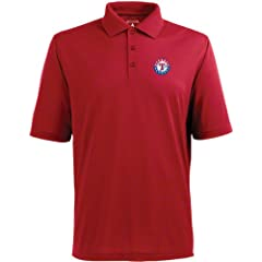 Texas Rangers Pique Xtra Lite Polo Shirt (Alternate Color) by Antigua