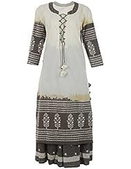 M'zuri Sana Women's Cotton Kurta And Skirt (Off-White And Grey, Large)
