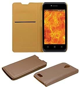 Acm Premium Flip Flap Case For Lyf Flame 6 Mobile Front & Back Cover Golden