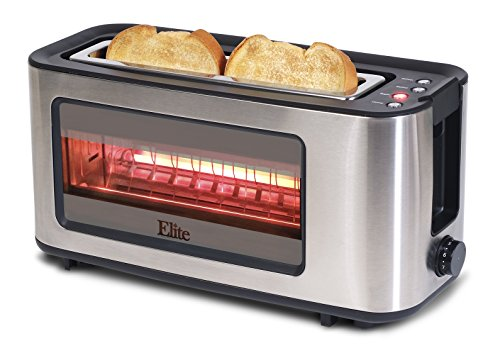 Maxi-Matic Ect-153 Elite Platinum Glass Sided Toaster, Silver