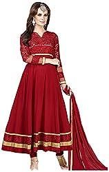 Begum Riwaaz Women's Georgette Unstitched Dress Material (4508, Red)