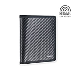 Ikepod Carbon Fiber Slim Note Wallet [ 3M Carbon Fiber + Italy Leather] [RFID Blocking and Slim Stitching !]