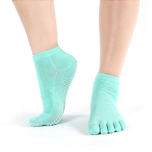 Grip completa con calze tacco, Longra Womens cotone ginnastica di yoga non di slittamento Toe Socks (Menta verde)