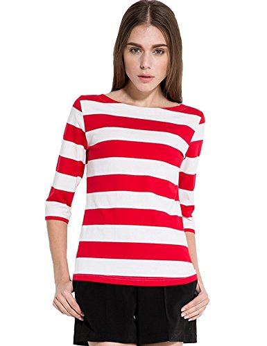 Camii Mia Women's Spring 3/4 Sleeves Cotton Stripe Pattern T-Shirt (Small, Red)
