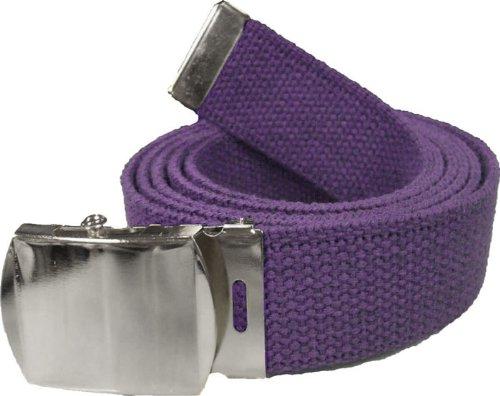 "100% Cotton Military 54"" Web Belt (Purple Belt w/ Chrome Buckle)"
