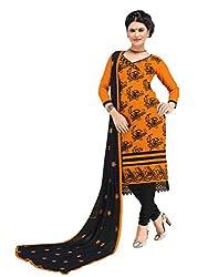 Musterd colour embroidered chanderi fabric semi stich churidar dress material