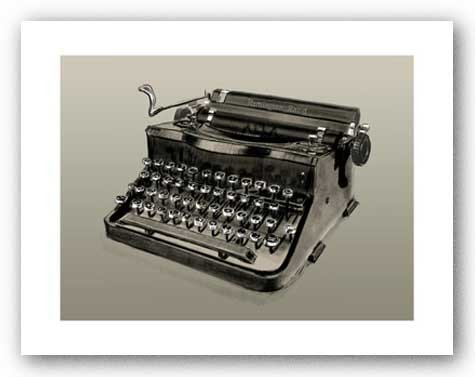"AfroGiftsnStuff.com Vintage Typewriter, Remington Rand - Signed Giclee by Clifford Faust 6.75""x9"" Art Print Poster at Sears.com"