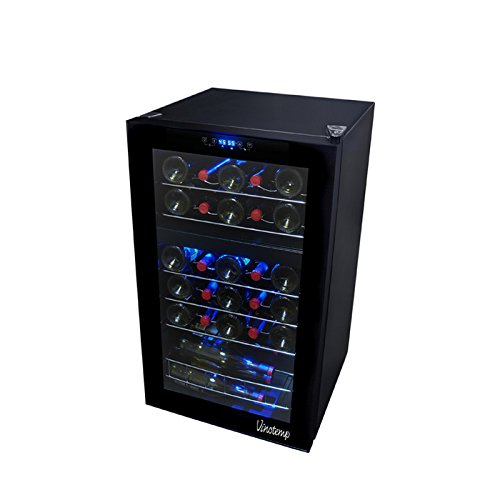 Vinotemp 29-Bottle Dual Zone Touch Screen Wine Cooler, Black