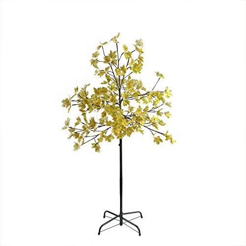 5' LED Lighted Artificial Fall Harvest Yellow Maple Leaf Tree - White Lights (Ac Adapter 120v 60hz 14w compare prices)