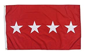 U.S. Army 4-Star General Indoor Outdoor Appliqued Nylon Flag Grommets 3' X 5'