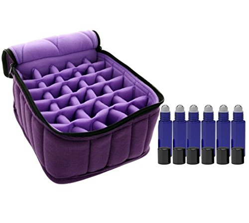 FLYMEI® 30-Bottle Essential Oil Carrying Case & Pack of 6 Roll on Glass Bottles (10ml) with Stainless Steel Roller Balls - for Essential Oil, Perfume Oil or Others (Nail Polish Handbag compare prices)