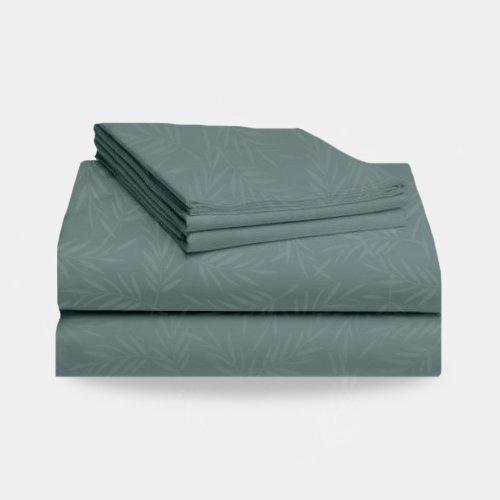 1800 Split California King Bed Sheet Set Leaf Pattern (Teal) front-204959