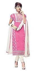 Kimisha Light Pink Chanderi Embroidered Unstitched Dress Material