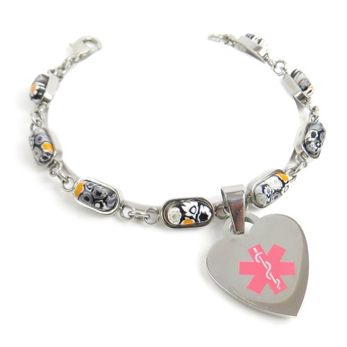 Myiddr - Engraved Millefiori Glass Diabetic Charm Bracelet Black & White Flowers Pink 7.5""