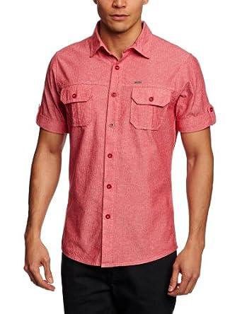 Animal Herren Shirt , Knopfleiste  - Rot - Chrysanthemum - Medium (Herstellergröße: Medium)