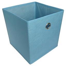 6 PACK Room Essentials Fabric Cube Storage Bin (Light Blue)