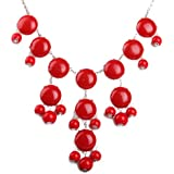 Red Bubble Necklace in Silver Tone, Bib Necklace, Statement Necklace (Fn0508-S-Red)