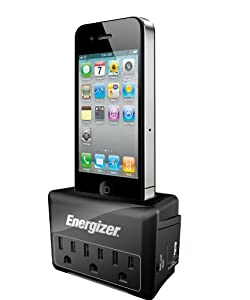 Energizer SPMFI1 Charging Station with 3 Outlet - Retail Packaging - Black