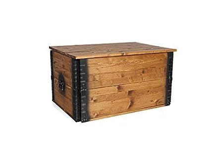 Uncle Joe di stile vintage shabby chic cassapanca, legno, marrone chiaro, 80x 55x 44cm