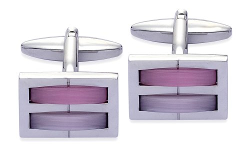 Code Red Base Metal Rhodium Plated Cufflinks With Purple & Pink Colour Real Cats Eye Stones