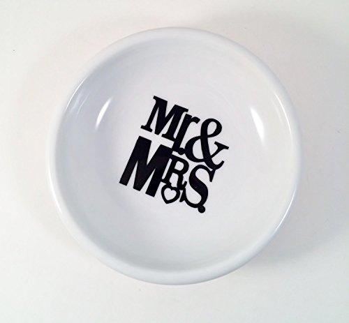Mr & Mrs Mini Round Ring Dish, White Porcelain Couples Trinket Dish, Wedding Gifts