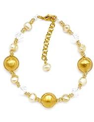 Amanti Venezia Yellow Freshwater Pearl, Clear Crystal and Genuine Murano Bracelet of 22.5cm