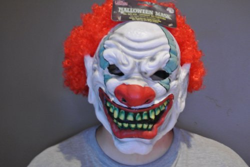 DELUXE FULL HEAD HALLOWEEEN EVIL SCARY FOAMY the CLOWN MASK with HAIR