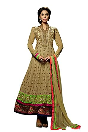 Lajo Fashion Womens Net Self Print Unstitched Salwar Suit Dress Material  Hiba 2 _Beige _Free Size  available at Amazon for Rs.2100