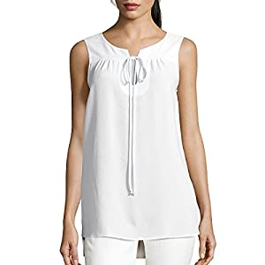 Womens Summer Cool O Neck Sleeveless Solid Chiffon Slim Fit Tank Top Shirt Tops