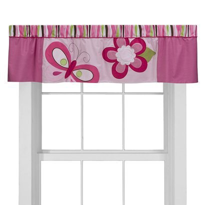 Tiddliwinks Raspberry Garden Window Valance