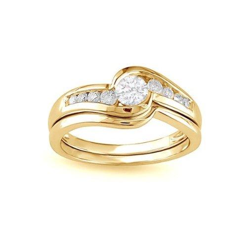 0.58 CaratRound cutDiamondWedding Ring Set On14k YellowGold