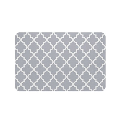 Gillham Studios Scalloped Durable Microfiber Foam Bath Rug (34x21 inch) Small White on Gray (Rugs Target compare prices)
