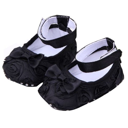 Eubuy Girl Baby Rose Style Newborn Infant Toddler Soft Floral Shoes Cack (11Cm/4.33Inch, Black) front-39793