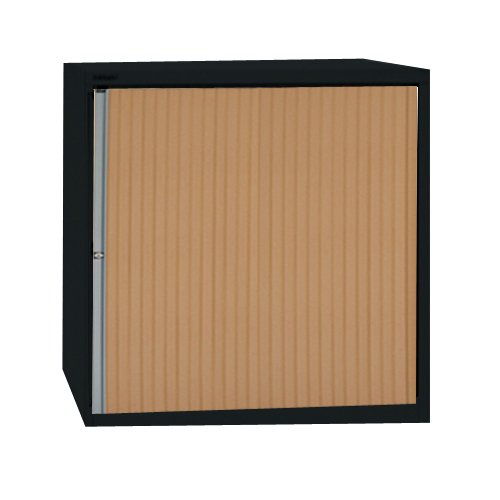 Bisley ET408/13/3S 133 cm Euro Tambour Beech Shutter with 3 Shelves - Black