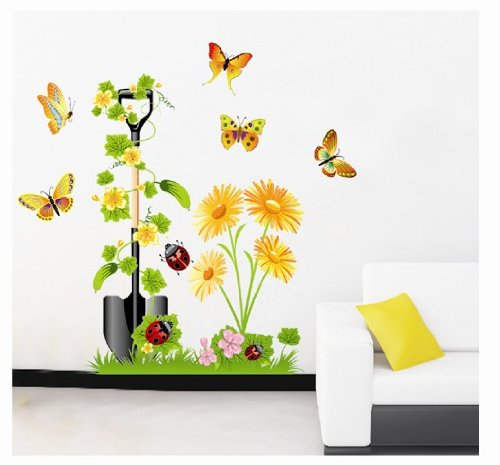 Createforlife Home Decor Vinyl Wall Sticker Yellow Flower Butterflies Kids Room Decal Art Mural Wallpaper front-4838