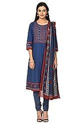Trishaa by Pantaloons Women's A-Line Churidar Kurta Dupatta ( 205000005657719, Blue, Medium)