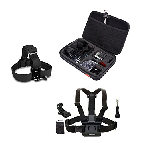 "Masione™ Pefect Set Gopro Mount Accessory : Large Carrying And Travel Protective Case Bag(12.6"" X8.6"" X2.7"")+ Head Belt Strap + Chest Harness +Aluminum Thumbscrew/Thumb Screw + J-Hook Mount For Gopro Hero1, Hero2, Hero3, Hero3+ Camera"