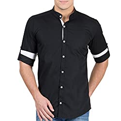 GHPC 100% Cotton Stand Collar Casual Shirt