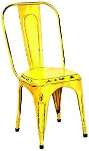 Set di 4 sedie vintage riciclate gialle in ferro battuto for Sedie gialle