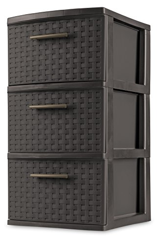 sterilite-26306p02-3-drawer-weave-tower-espresso-frame-drawers-w-driftwood-handles-pack-of-2