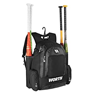 Black Worth Baseball/Softball Backpack Gear Bag - Holds 4 Bats, 4 Separate Compartments (6000 Polyester/4200 Color Rip-stop)