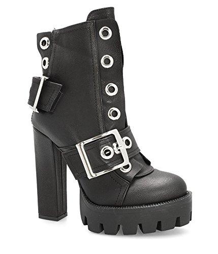 Alx Trend scarpe da donna Stivali biker con fibbie Lois - Nero-39