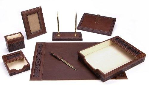 Deals Majestic Goods fice Supply Leather Desk Set Brown